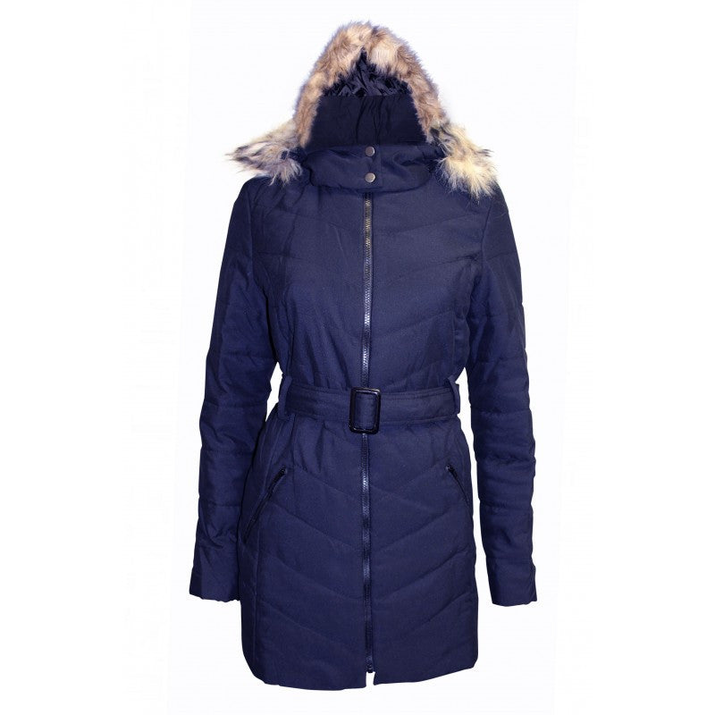 Women's Fashion Coat, Winter Warm Parka With Fur Trimmed Hood - Front
