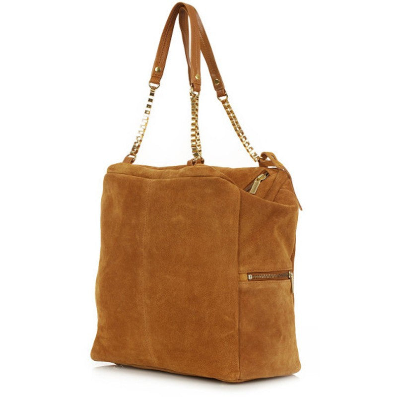 Women's Fashion Suede Slouch Bag in Tan Colour With Chain Detail On Handles - Front