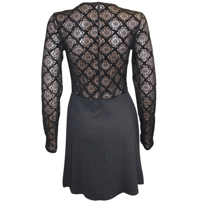 Women's fashion - LBD, built in vest long lace sleeves, sits on the knee - back