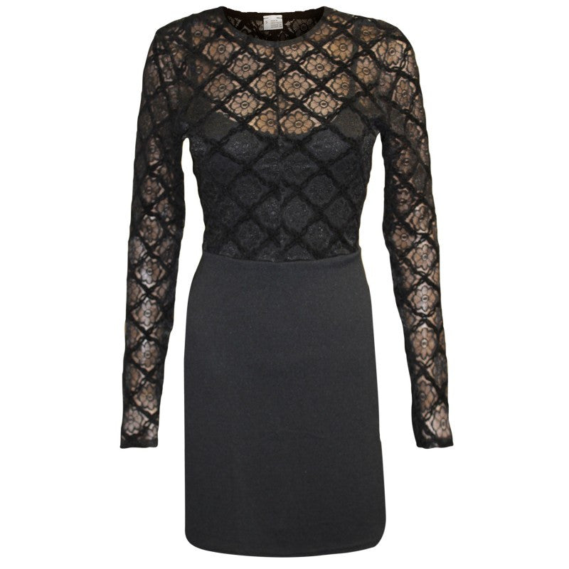 Women's fashion little black dress with floral lace top over a swirly skirt - front