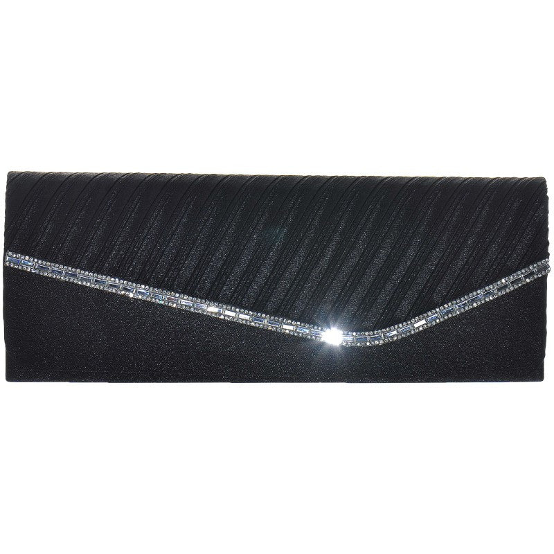 Black Ribbed Satin and Diamante Clutch Bag