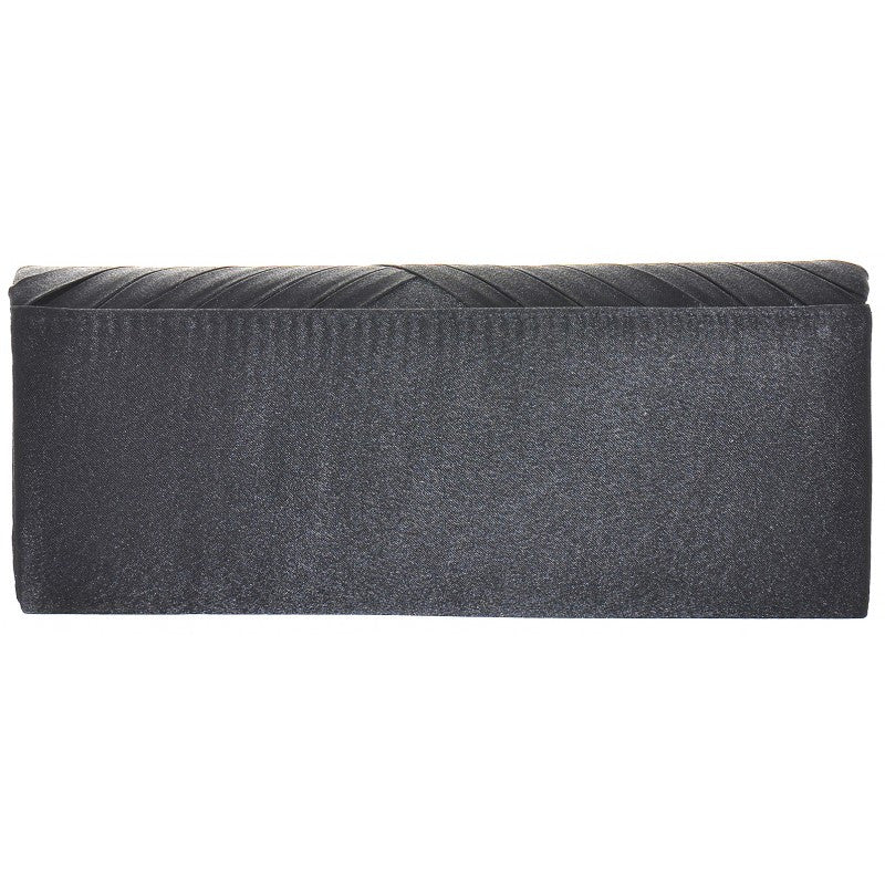 Twisted Ribbed Black Satin Clutch Bag