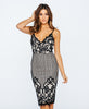 Eyelash Lace Bodycon Party Dress Nude and Black