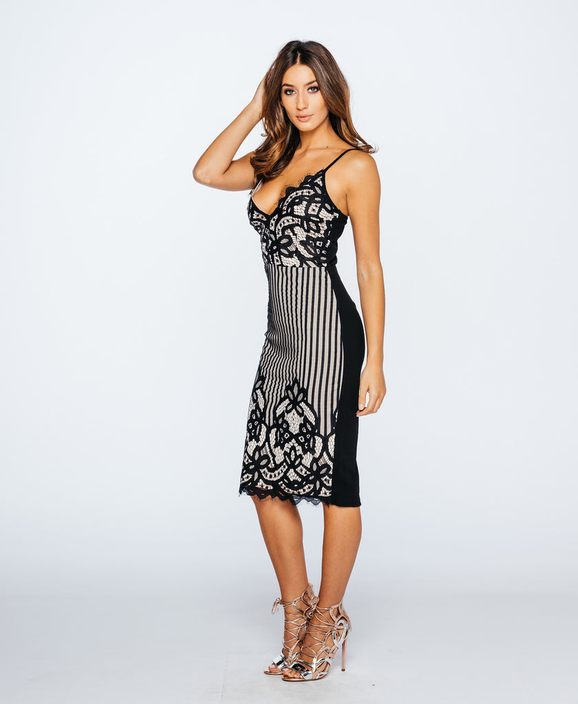 Eyelash Lace Bodycon Party Dress Nude and Black Side