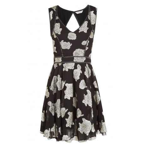 Women's Fashion Party Dress, Cute Mini Skater Style Partywear - Front