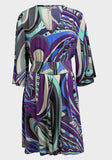 Women's Fashion Abstract Belted Dress V Neck (Front)