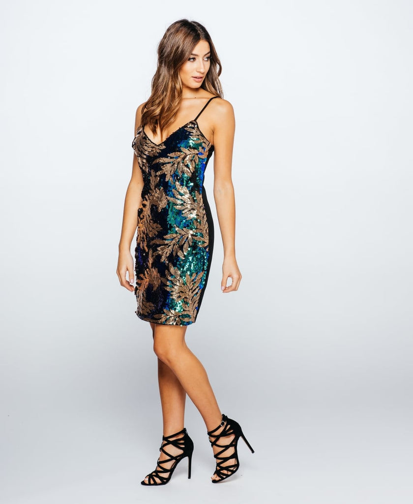 Leaf Patterned Sequin Camisole Party Dress Side