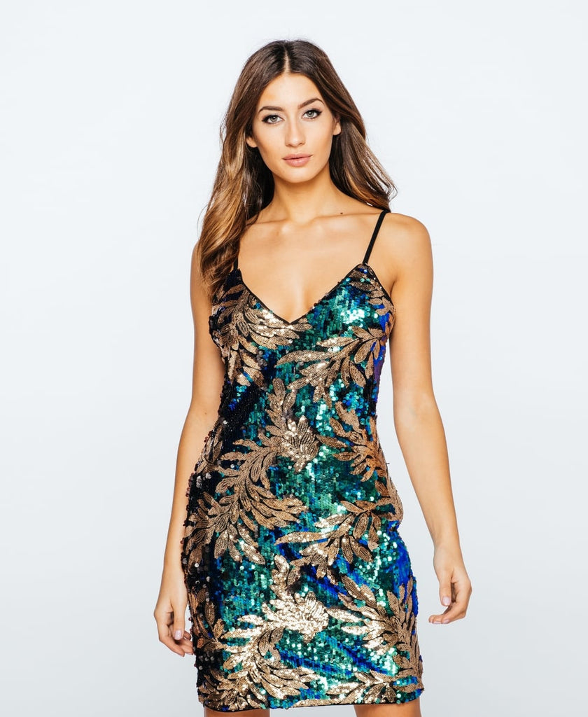 Leaf Patterned Sequin Camisole Party Dress Close Up