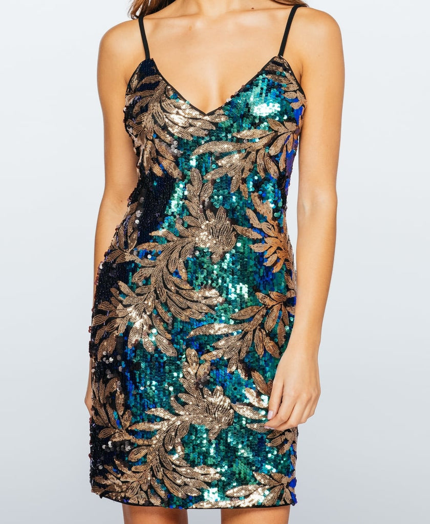 Leaf Patterned Sequin Camisole Party Dress Top