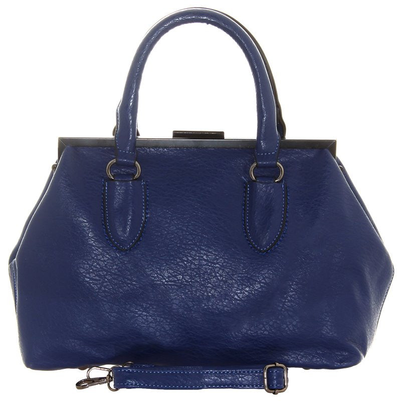 Women's Fashion Dress Box Handbag, Navy Blue, Faux Leather With Adjustable Strap & Carry Handles - Front