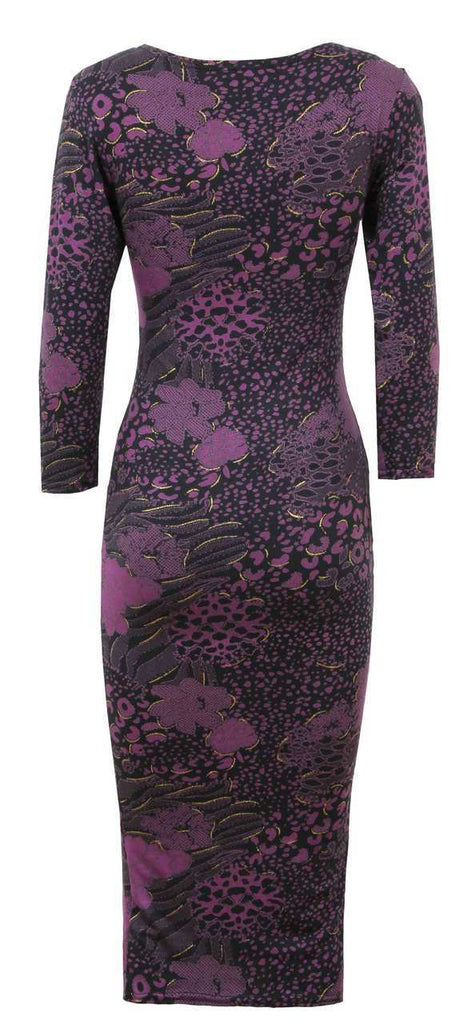 Women's Midi Dress in Purple & Black With Gold Detail, Sccop Neckline & 3/4 Sleeves - Rear