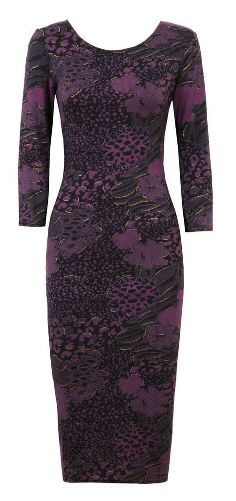 Women's Fashion Midi Dress, Purple With Gold Trim Detail & 3/4 Sleeve - Front