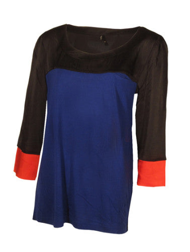 Women's Fashion Colour Block Top In Black, Blue & Red With 3/4 Length Sleeves - Front
