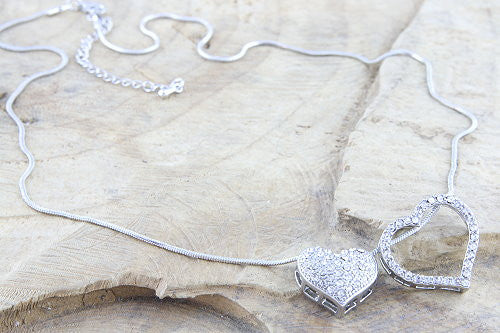 Silver and Diamante Heart Necklace