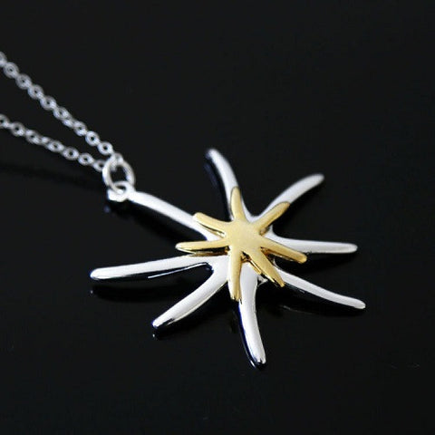 Silver and Diamante Shooting Stars Pendant Necklace