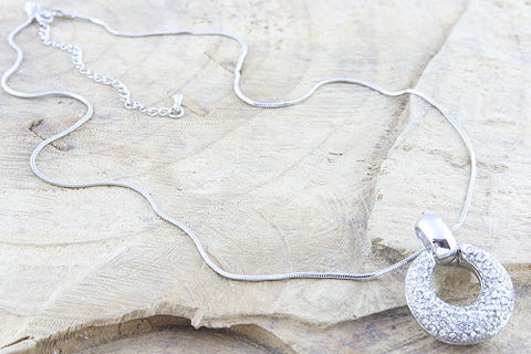 Silver Plated Snake Chain And Crystal Pendant