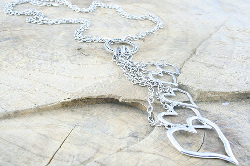 Double Chain Multiple Heart Long Drop Necklace