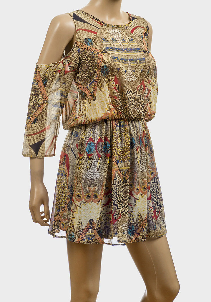 Women's Fashion Chiffon Tunic Dress With All Over Colourful Indian Print.  Cut-Off Shoulder Design With Round Neckline - Front