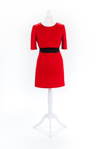 Red Pencil Dress Exposed Zip