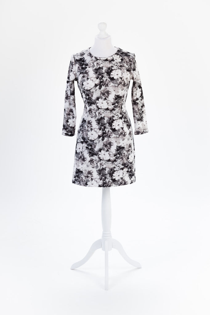 Photo Print Floral Shift Dress - Long Sleeves