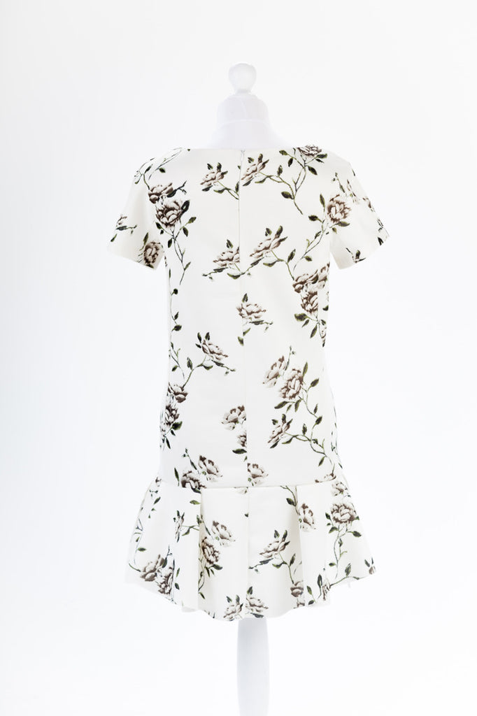 Floral Peplum Hem Scuba Dress - Short Sleeve