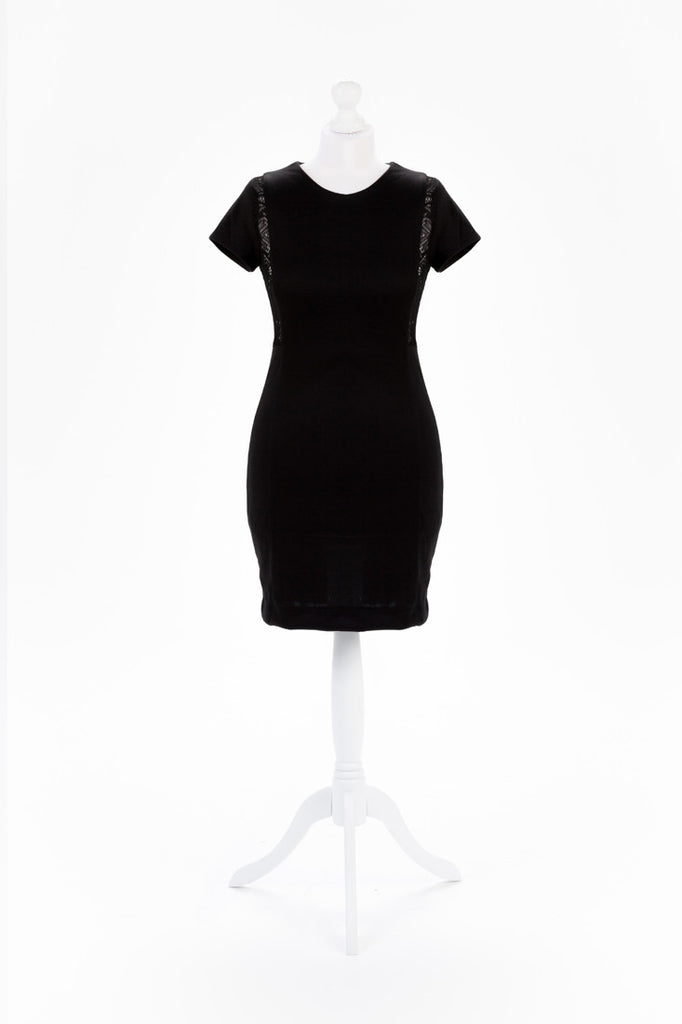 Crochet Panel Little Black Dress - Short Sleeves
