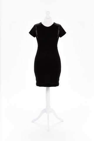 Black Tassled, Open Back Bodycon Dress