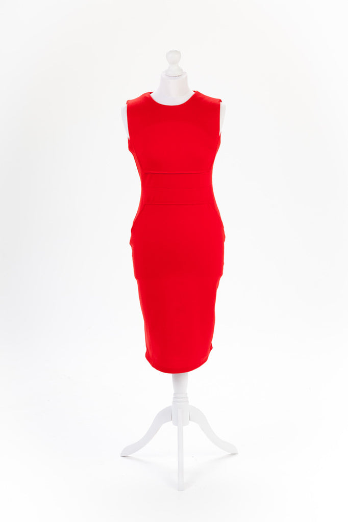 Red Pencil Dress Exposed Zip - Knee Length