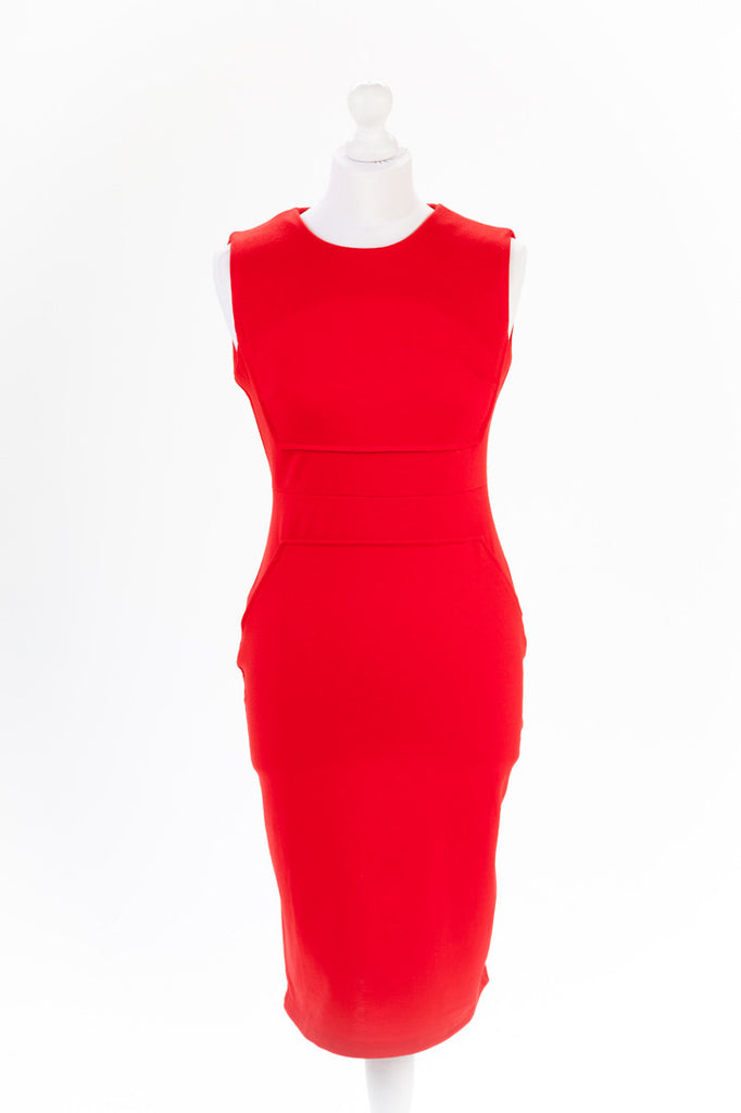 Red Pencil Dress Exposed Zip - Close Up