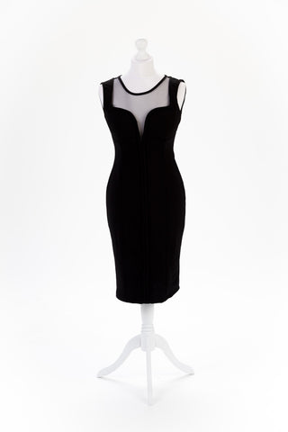 Shoulder Button Black Pencil Dress