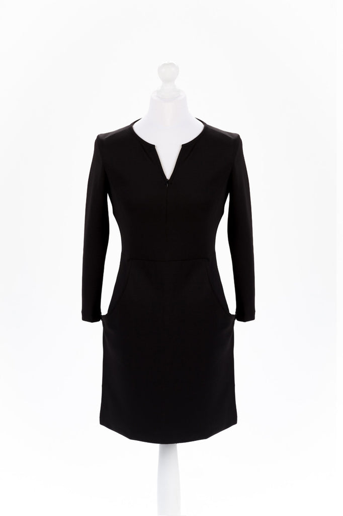 Zip Sleeve Shift Dress The Dress Box Collection - Black Front