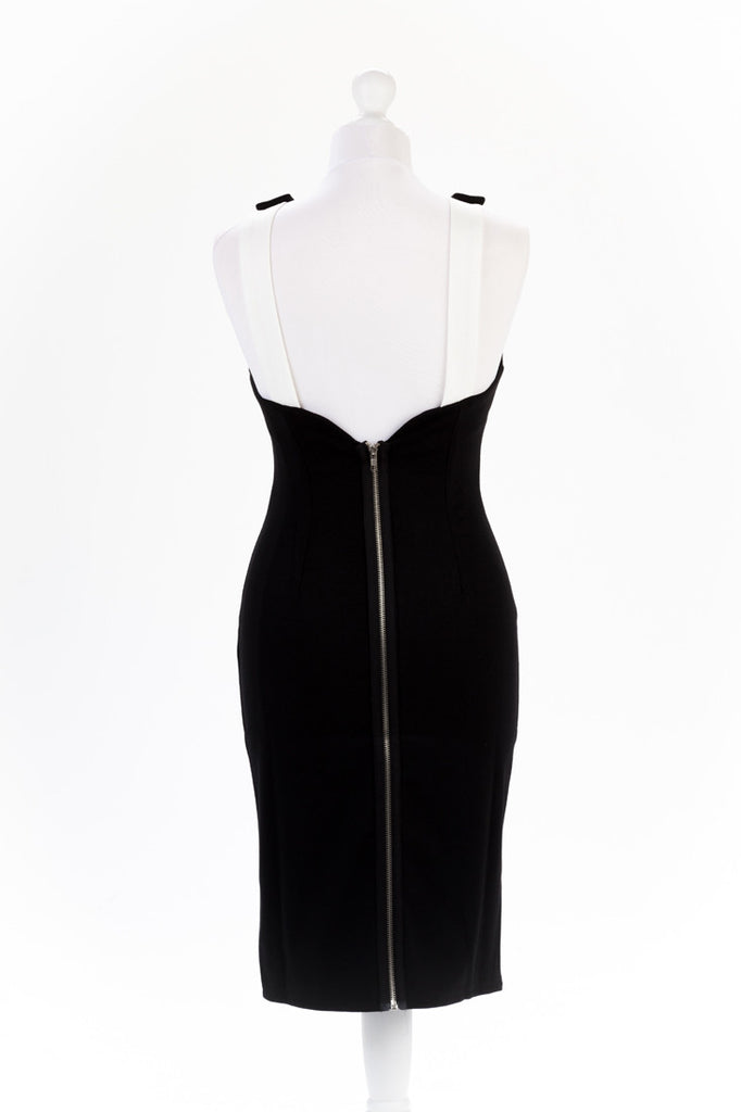 Shoulder Button Black Pencil Dress - Exposed Zip Detail