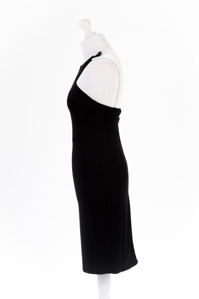Shoulder Button Black Pencil Dress - Knee Length