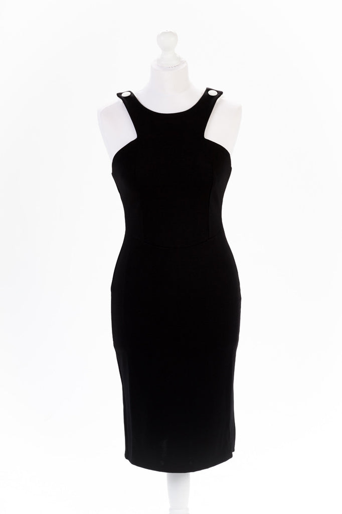 Shoulder Button Black Pencil Dress - Sleeveless