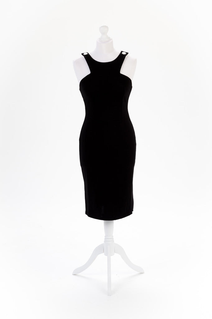 Shoulder Button Black Pencil Dress - White Straps