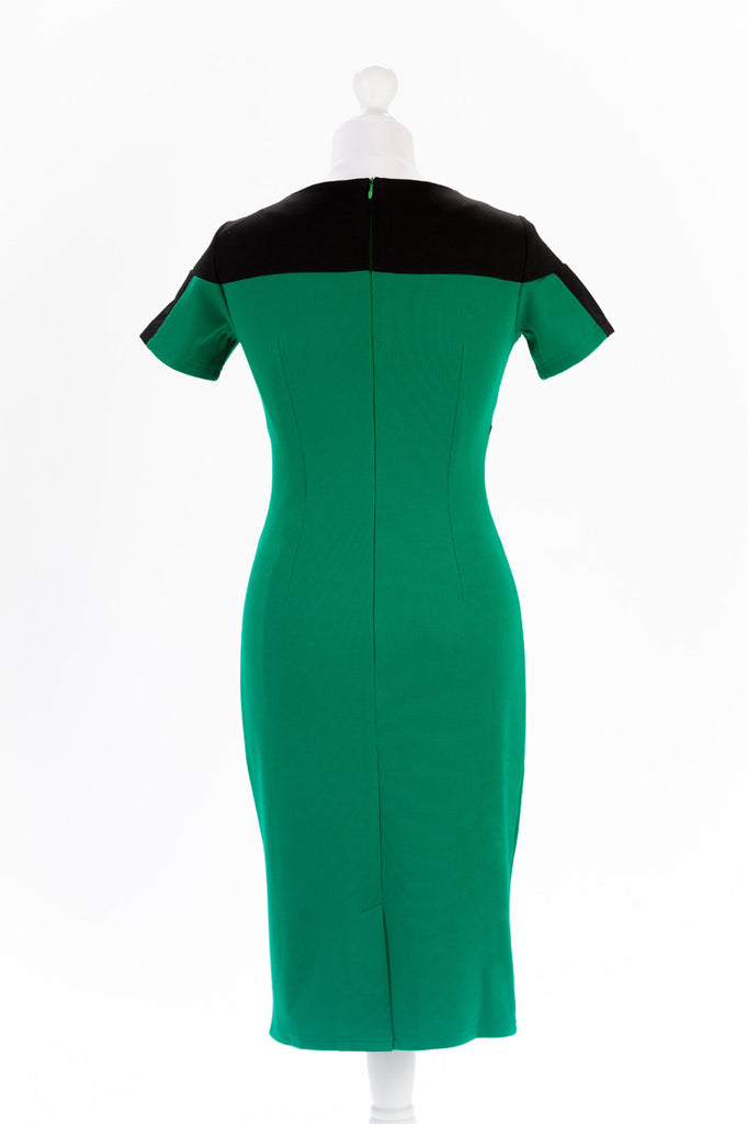 Colour block Pencil Dress - Cinched Waist