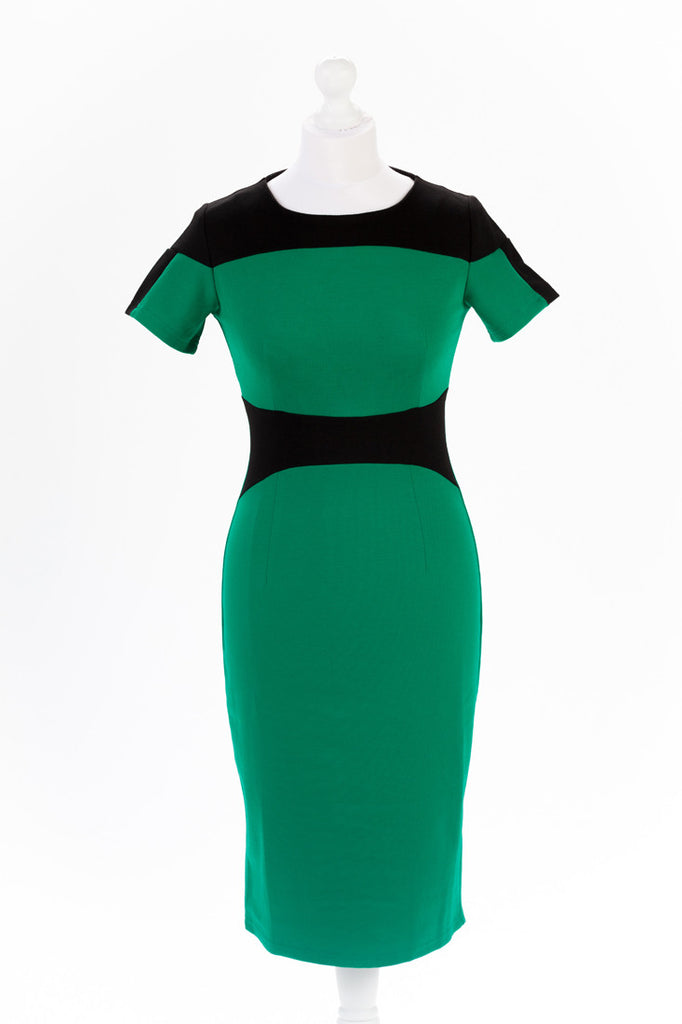 Colour block Pencil Dress - Short Sleeves