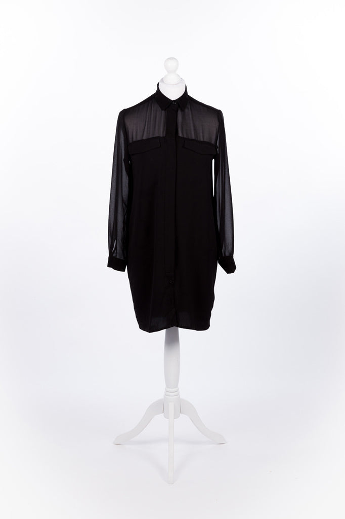 Chiffon Shirt Dress - Black