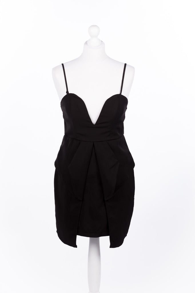 Peplum Plunge Neck Party Dress - LBD Close Up