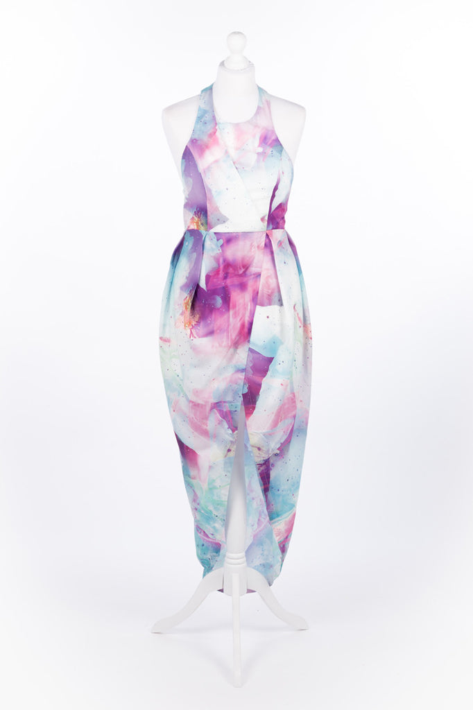 Asymmetric Tulip Dress Pastel Pink and Blue