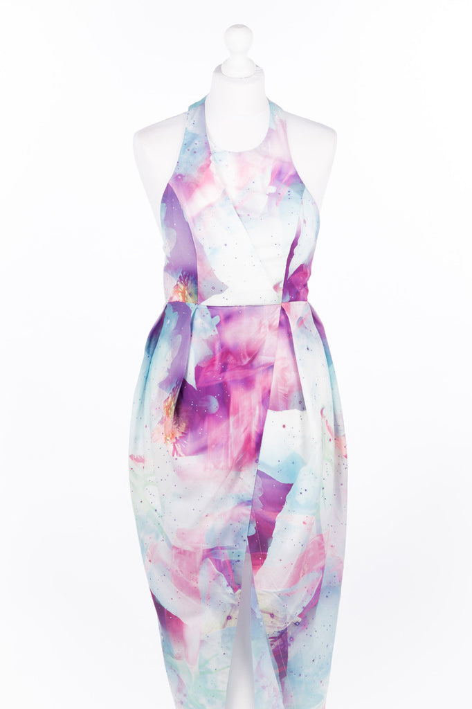 Asymmetric Tulip Dress Pastel Pink and Blue - Close Up