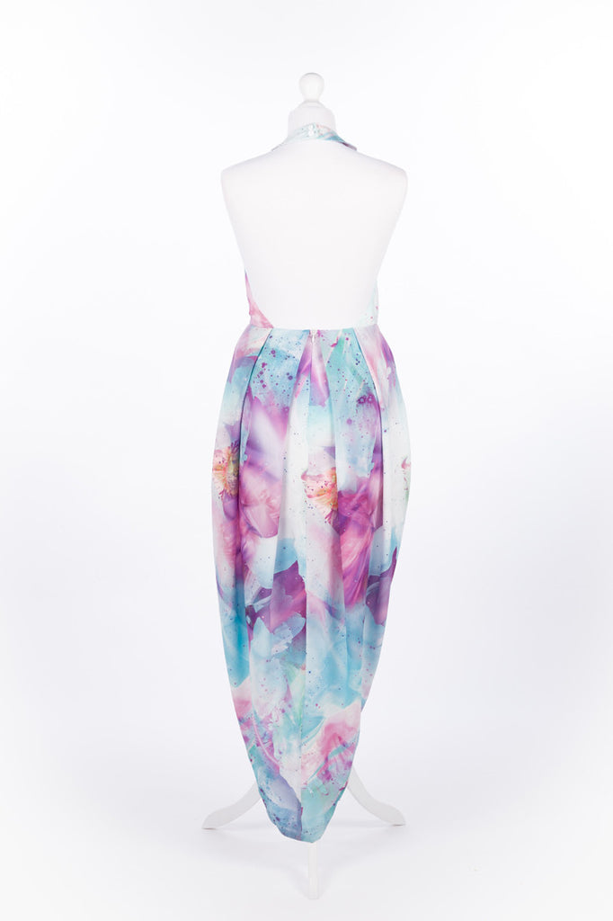 Asymmetric Tulip Dress Pastel Pink and Blue - Rear