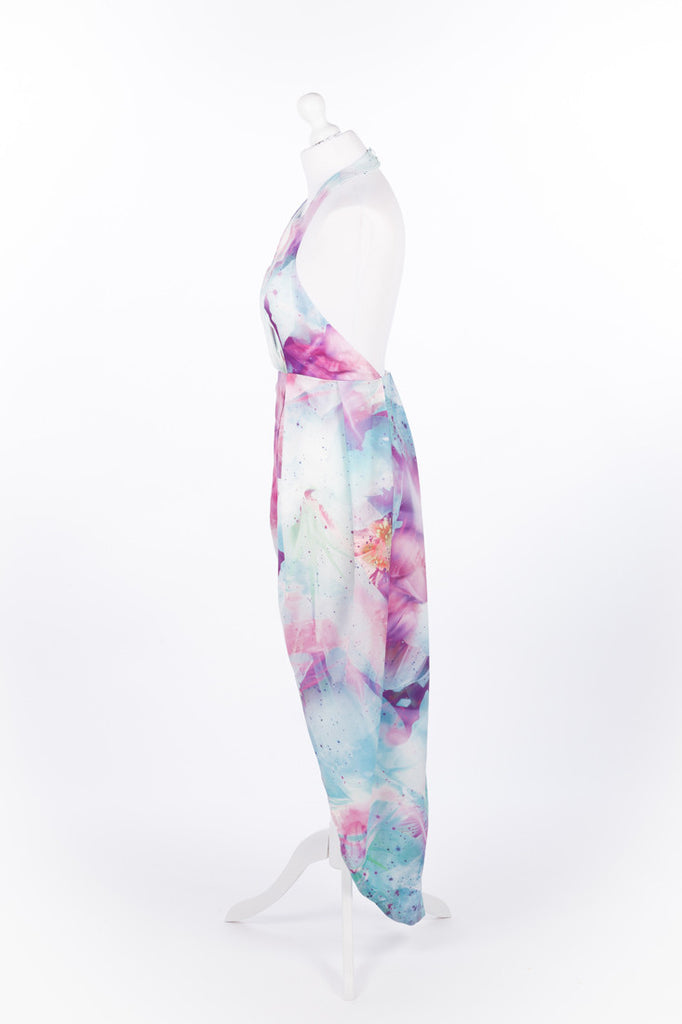 Asymmetric Tulip Dress Pastel Pink and Blue Halter Neck - Side