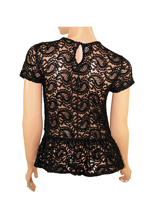Women's Fashion Black Lace Peplum Top With Sheer Lace Back Detail - Back