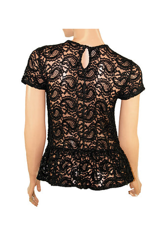 Asymmetric Hem Black Lace Over White Top