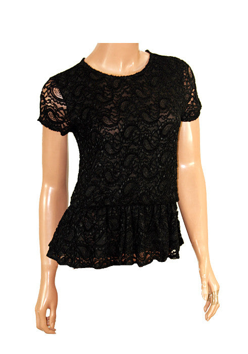 Ladies Fashion Black Lace Peplum Top With Short Sleeves - Front