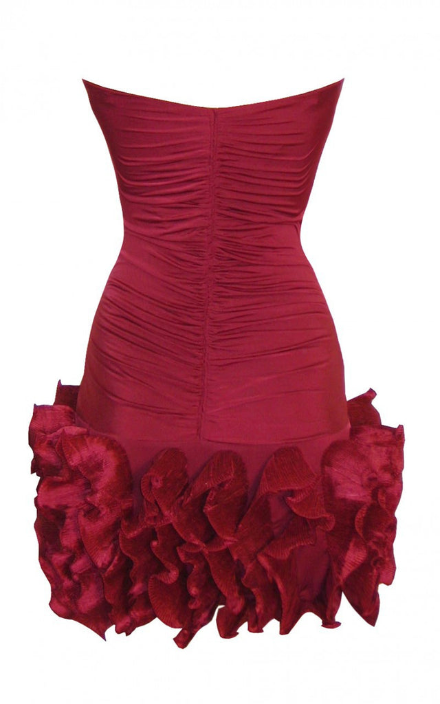 Ladies Fashion Strapless Frill Hem Party Dress In Rich Wine Colour - Rear