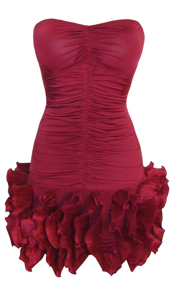Women's Fashion Strapless Frill Hem Party Dress With Ruching To The Body In Rich Wine Colour - Front