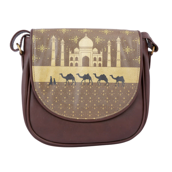 Taj Mahal With Camel Sling Bag Round
