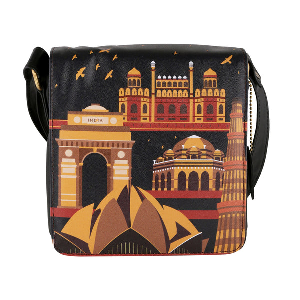 Delhi Monuments Sling Bag Square